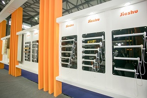 display with windnow drive, door drive, tubular motor, opener, showcased at the trade fair in Shanghai
