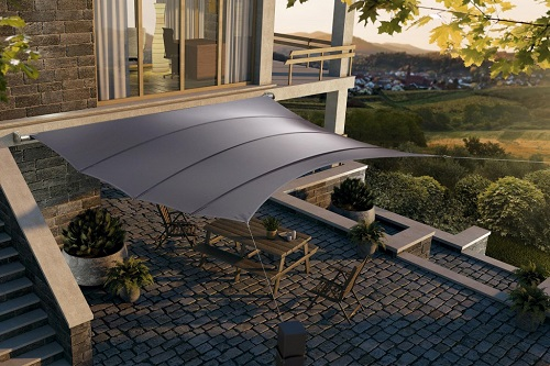 luxury and wind stable shade sail system in form of square provides shade to patio in front of the modern villa
